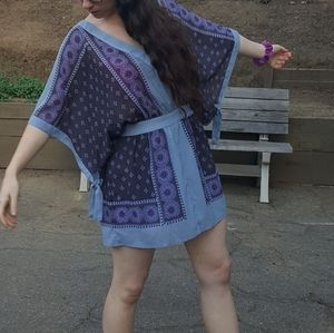 Free People kimono Style Patterned Blue Mini Dress